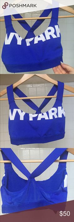 NWOT Ivy Park Cobalt Blue Sports Bra Color combo NO LONGER available. NWOT - too small! Never been worn. Willing to trade for a M or L of same thing! Ivy Park Intimates & Sleepwear Bras