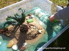 This imaginative play scene is quick and simple to put together and provides hours of imaginative play. We even managed to incorporate some fun science experiments into the play.
