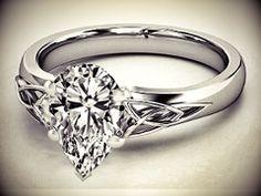 Pear Diamond Triquetra Celtic Engagement Ring