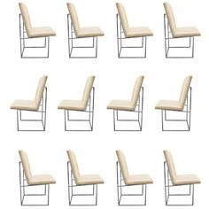 Set of 12 Leather and Chrome Dining Chairs by Milo Baughman, USA, Circa 1970   From a unique collection of antique and modern dining room chairs at http://www.1stdibs.com/furniture/seating/dining-room-chairs/