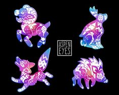 This is a colorful rainbow-plated enamel pin set inspired by Southwestern fauna (both common and legendary) and the vibrant artwork from that region! Due to the nature of rainbow plating, each pin will be unique-- they wont necessarily have the exact same color scheme as the preview