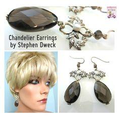 $200 New STEPHEN DWECK 925 Silver Smoky Quartz Pearl Chandelier Dangle Drop Earrings #StephenDweck #Chandelier