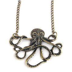 Gleader Antique Brass Octopus Chain Necklace