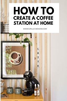 How to create a diy coffee station at home pinterest graphic Diy Projects On A Budget, Do It Yourself Projects, Yellow Cabinets, Pretty Mugs, Basket Shelves, Easy Diy Crafts, Diy Home Improvement, Organization Hacks, Home Decor Inspiration