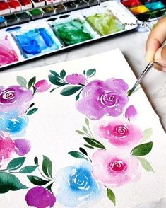 Learn Watercolor Painting, Watercolor Paintings For Beginners, Watercolor Art Lessons, Abstract Watercolor, Watercolor Illustration, Watercolor Flowers Tutorial, Flower Drawing Tutorials, Art Painting Gallery, Gouache