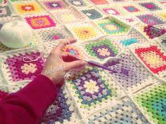 Granny Squares #CROCHETDEAF Granny Squares, Blanket, Crochet, Ganchillo, Blankets, Cover, Crocheting, Comforters, Knits