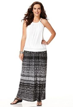 Plus Size Printed Crinkle Maxi Skirt image.  This skirt reminds me of when I was at Oswego State University and how I dressed then.  I like this one a lot.  $24.99 at onestopplus and it's by Avenue.  Also in limeade.