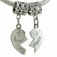 Amazon.com: Aunt and Niece Heart Sterling Silver Bead Charms for European Bracelet: Arts, Crafts & Sewing