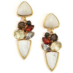 Lizzie Fortunato Maximo Smoky Quartz, Dolomite & Howlite Drop Earrings (3.794.175 IDR) ❤ liked on Polyvore