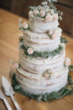 Rustic Buttercream Cake Flowers Naked Wild Flowers Outdoors Heartfelt DIY Wedding www.mattandesther...