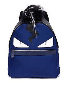 Fendi Monster Fox, Kidassia & Calf Leather Backpack - Blue
