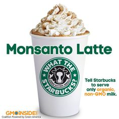 What the Starbucks? Cows living in concentrated animal feeding operations (CAFOs) are fed a grain diet comprised almost entirely of GMO corn, soy, alfalfa, and cottonseed. Tell Starbucks to serve only organic milk: www.gmoinside.org/starbucks #GMODairy #WTStarbucks #StopMonsanto