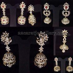 I really like the botton left earrings -Jewellery Designs: Diamond Jhumkas New Collection Diamond Earrings Indian, Diamond Jhumkas, Diamond Jewellery, Indian Wedding Jewelry, Bridal Jewelry, India Jewelry, Jewelry Patterns, Designer Earrings, Jewelery