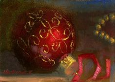 Christmas Ornament with Gold Garland 5 7 in. Original Oil on panel, painting by artist Hall Groat II