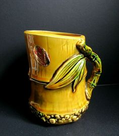 E O BRODY SAMOA VASE Unique Molded in Relief BAMBOO w Original Stickers circa Signed, numbered and has original stickers. E O Brody designed a number of vases and planter pots in this pattern. Bud Vases, Flower Vases, Manicure Set, Vintage Pottery, Home Decor Accessories, Antique Jewelry, Bamboo, Planter Pots, Stickers