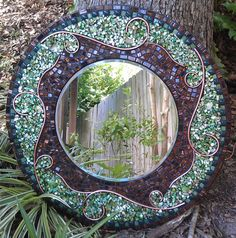 Large Green Mosaic Mirror - Beautiful Round Mosaic Art Mirror with Stained Glass, Shell, Ceramic Tile and Copper Wire Design