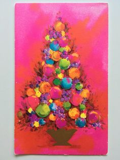 "Vintage Christmas Greeting Card PINK Mid Century 1960s Mod. ""Christmas Gems"" Gibson Cards."
