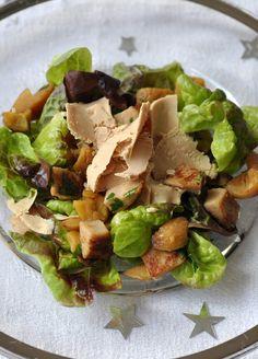 Salade de boudin blanc, châtaignes et copeaux de foie gras