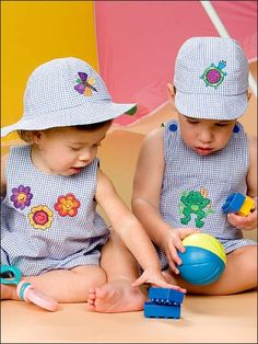 Download this free sewing pattern and learn how to use machine-embroidery designs to dress up baby rompers.