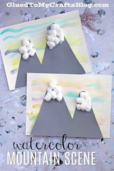 Watercolor Snowy Mountain Scene - Kid Craft Idea w/free printable template