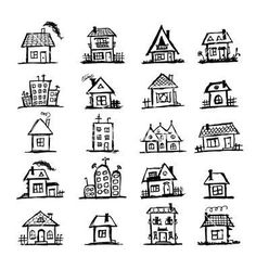 Drawing Doodles Sketches Sketch of art houses for your design vector 957453 - by Kudryashka on VectorStock® Doodle Drawings, Easy Drawings, Doodle Art, Drawing Sketches, Drawing Ideas, Drawing Tips, Drawing Drawing, Simple Doodles Drawings, Cute Small Drawings