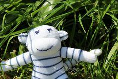 White and Blue Stripey Baby Sock Monkey