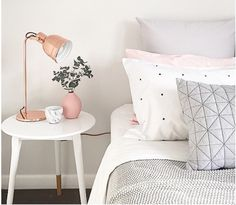 home, bedding, simple, lamp, bedside table, grey, pink, bedroom
