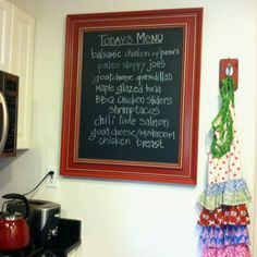 Our favorite recipes on our new chalkboard we made from a caulk board