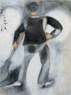 Chagall, Marc | The Street Sweeper and Birds (1914)