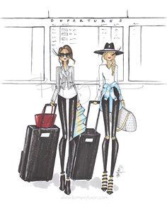 Bags are packed i'm ready to go! f - brittany zucker ◾ ️britta Fashion Dolls, Fashion Art, Megan Hess, Become A Fashion Designer, Fashion Sketches, Fashion Illustrations, Illustration Fashion, Travel Illustration, Cartoon Pics