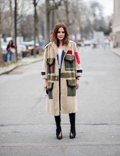 Christine Centenera wearing Miu Miu coat seen outside Miu Miu during Paris Fashion Week Womenswear Fall/Winter 2018/2019 on March 6 2018 in Paris...