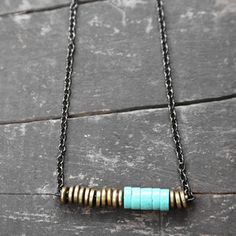 Turquoise And Brass Necklace now featured on Fab.