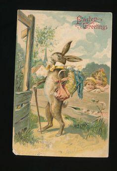 Large Dressed Rabbit & Children Antique Embossed c. 1907 Easter  Postcard-kkk418