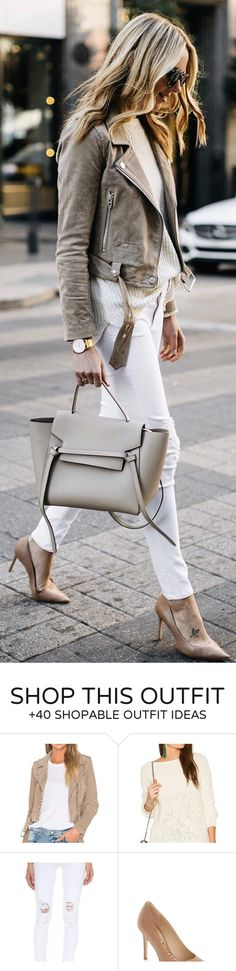 Cute spring outfits / Grey Suede Jacket / White Skinny Jeans / Grey Leather Tote Bag / Nude Pumps