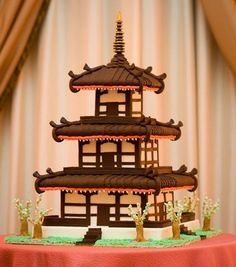 Pagoda cake Pretty Cakes, Cute Cakes, Beautiful Cakes, Amazing Cakes, Girly Cakes, Fancy Cakes, Japanese Pagoda, Japanese Cake, Japanese Buffet
