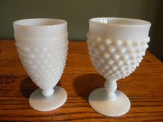 Fenton and Hobnail Milk Glass