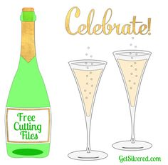 Champagne Bottle and Flute - Free SVG and Silhouette Cut Files. Silhouette Cameo Projects, Silhouette Design, Free Silhouette, Silhouette Files, Silhouette Studio, Cricut Wedding Invitations, Brother Scan And Cut, Free Svg Cut Files, Svg Cuts