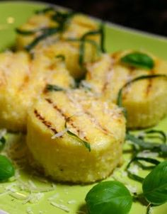 grilled polenta with basil and parmesan. this food blogger says she's found the best recipe for polenta!