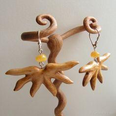 Earrings 367 Hand carved wooden earrings with natural baltic amber Wooden Earrings, Wooden Jewelry, Unique Jewelry, Amber Earrings, Drop Earrings, Sterling Silver Flowers, Baltic Amber, Hand Carved, Crochet Earrings