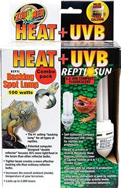 Combo kit includes Basking spot lamp and Reptile Sun 5.0 UVB Compact fluorescent bulb. Basking lamp increases the overall ambient (inside) temperature of your terrarium while the Reptile Sun bulb prov...