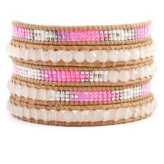 Chan Luu - Rose Quartz and Bead Wrap Bracelet on Beige Leather, $170.00 (http://www.chanluu.com/wrap-bracelets/rose-quartz-and-bead-wrap-bracelet-on-beige-leather/)