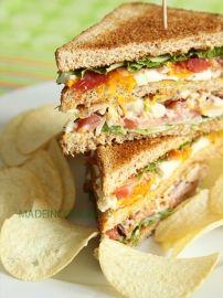 Club sandwich:     6 tranche de pain de mie complet     3 ailes de poulet rôti ou 1/2 blanc de poulet     1 petite tomate     2 oeufs     6 tranches de bacon     salade (laitue, batavia, romaine...)     Mayonnaise maison ou pas