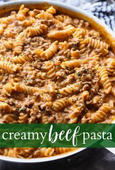 Creamy Beef Pasta is an easy pasta recipe that is perfect for weeknight dinners. It's made in 30 minutes or less and is cheesy, and packed with flavor! Like homemade hamburger helper...but better! #cookiesandcups #pastarecipe #dinner #easydinner #recipe #30minutedinner #pastarecipes #beefpasta