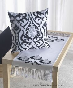 Black and White Cushion Cross Stitch Kit - Idéna Collection by Anchor Cross Stitch Pillow, Cross Stitch Kits, Cross Stitch Designs, Black And White Cushions, Embroidery Kits, Pin Cushions, Anchor, Needlework, Sew