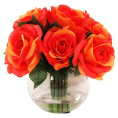 Craft a charming entryway vignette or dining table centerpiece with this lovely faux rose arrangement, showcasing vibrant orange blossoms nestled in a classi...
