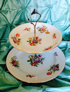 Two Tier Dessert Stand vintage plates for parties showers on Etsy, $24.00