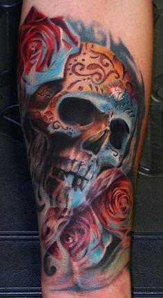 Realistic sugar skull tattoo design with roses