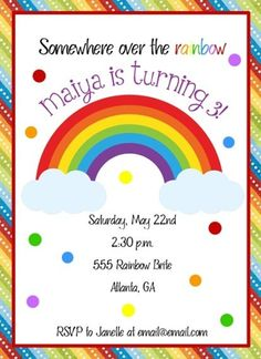 Rainbow Birthday Invite Rainbow Birthday Invite