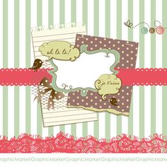 Vintage Digital Scrapbook Papers. Hand dawn Paper and Clip Art Pack. $4.99, via Etsy.