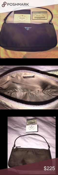 """Prada chocolate satin shoulder bag Prada chocolate satin shoulder bag.  No signs of wear.  Will ship with authentication & style card info pictured.   Made in Italy.  5.5"""" inch shoulder drop. Prada Bags Mini Bags"""
